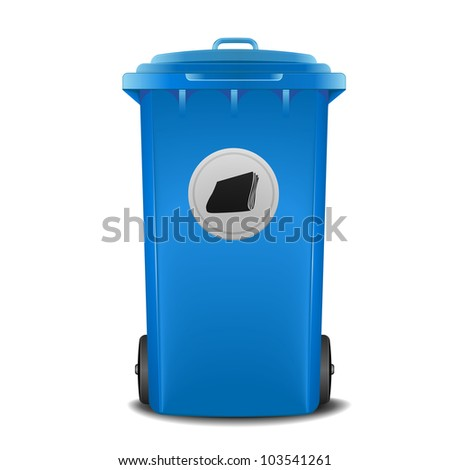 illustration of a blue recycling bin with paper symbol - stock vector