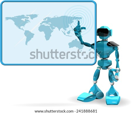 Illustration of a blue robot on white background and screen - stock vector