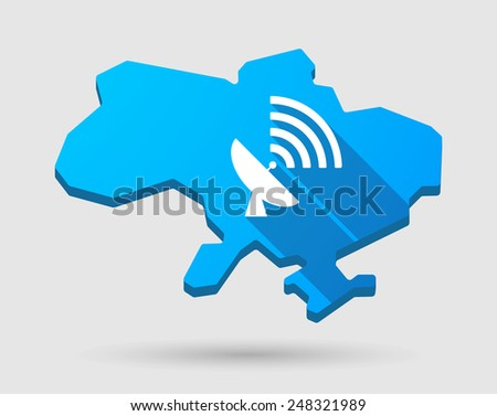Illustration of a blue Ukraine map icon with an antenna - stock vector