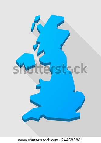 Illustration of a  blue United Kingdom map - stock vector