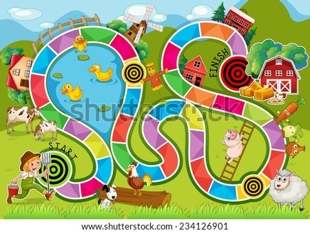 Illustration of a boardgame with farm background - stock vector