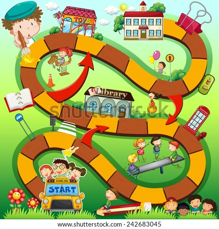 Illustration of a boardgame with school background - stock vector
