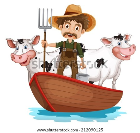 Illustration of a boat with a man and two cows on a white background - stock vector