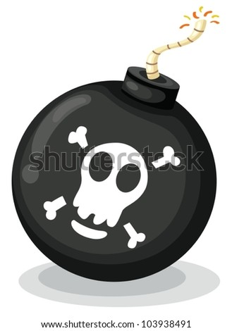 Illustration of a bomb on white - stock vector