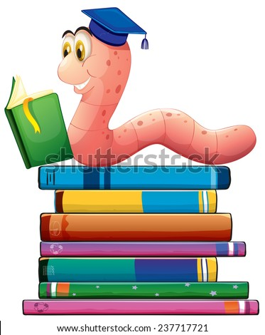Illustration of a bookworm reading many books - stock vector