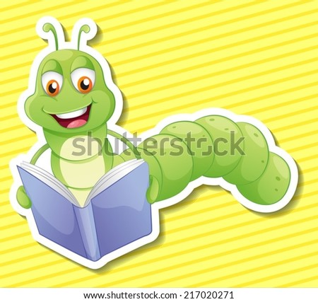 Illustration of a bookworm with background - stock vector