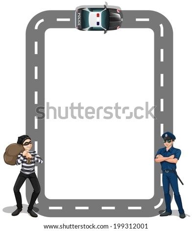 Illustration of a borderline with a thief and a policeman on a white background - stock vector