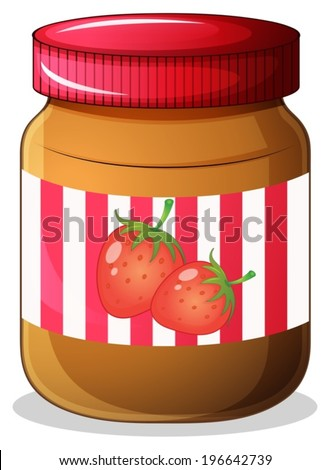 Illustration of a bottle of strawberry jam on a white background - stock vector