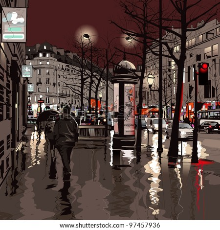 Illustration of a boulevard in Paris at night - stock vector