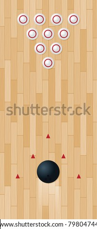 Illustration of a bowling lane; vector file contains clipping mask. - stock vector