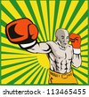 Illustration of a boxer jabbing punching front view done in retro style - stock photo