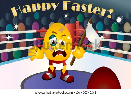 Illustration of a boxing match, the red corner of the mat with yellow Easter egg emoticon , scared -narrated keep white flag, lost the match by a red egg boxer. Audience of colorful, painted eggs. - stock vector