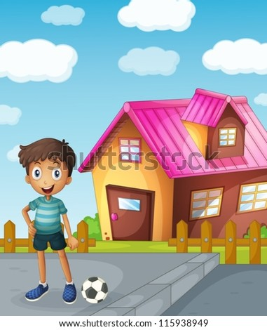 illustration of a boy, a football and a house - stock vector