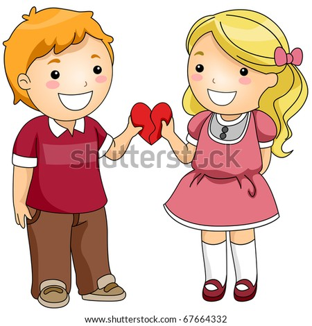 Illustration of a Boy and a Girl Combining Two Heart-shaped Puzzle Pieces
