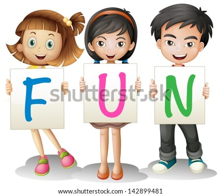 Illustration of a boy and a girl holding different letters on a white background - stock vector