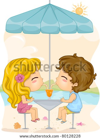Illustration of a Boy and a Girl Sharing a Drink - stock vector
