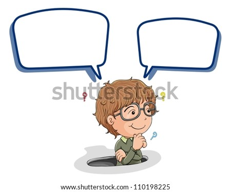 illustration of a boy and call out on a white background - stock vector