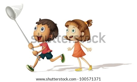 Illustration of a boy and girl with a butterfly net - stock vector