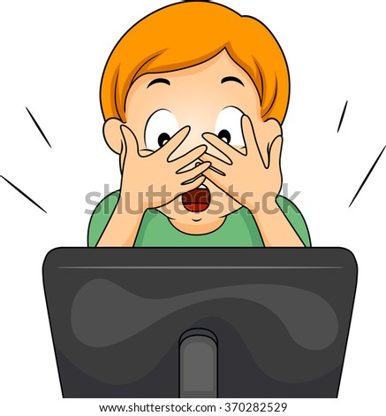 Illustration of a Boy covering his face while watching an internet show - stock vector