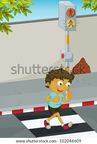 Illustration of a boy crossing the road - stock vector