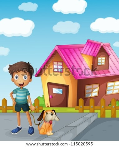 illustration of a boy, dog and house in a beautiful nature - stock vector