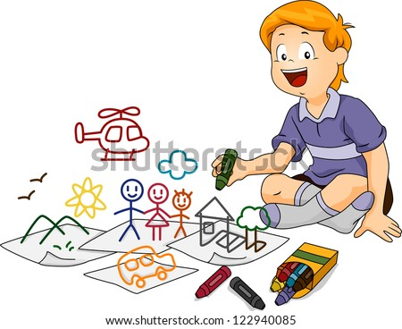 Illustration of a Boy Drawing Random Doodles with Crayons - stock vector