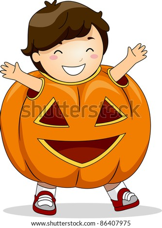 Illustration of a Boy Dressed in a Pumpkin Costume - stock vector