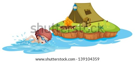 Illustration of a boy going to the campsite on a white background - stock vector