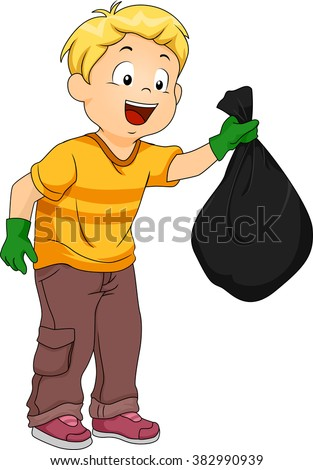 Illustration of a Boy Handling a Plastic Garbage Bag - stock vector