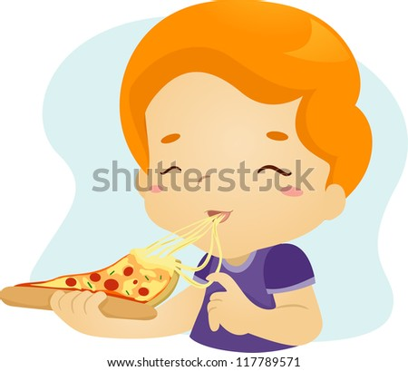 Illustration of a Boy Happily Eating a Slice of Pizza - stock vector