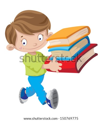 illustration of a boy holding a book - stock vector