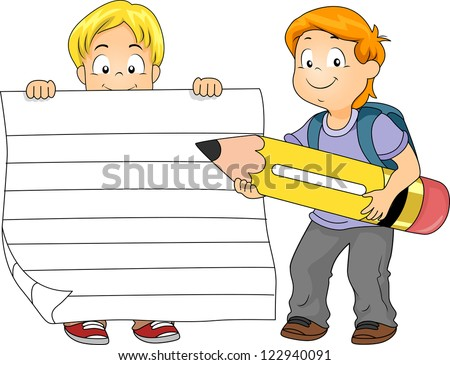 Illustration of a Boy Holding a Piece of Ruled Paper While Another Boy Holds a Pencil - stock vector