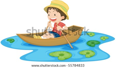 Illustration of A Boy in Boat on white background - stock vector