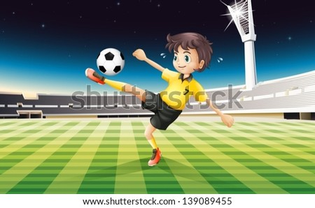 Illustration of a boy in his yellow uniform playing soccer at the field - stock vector