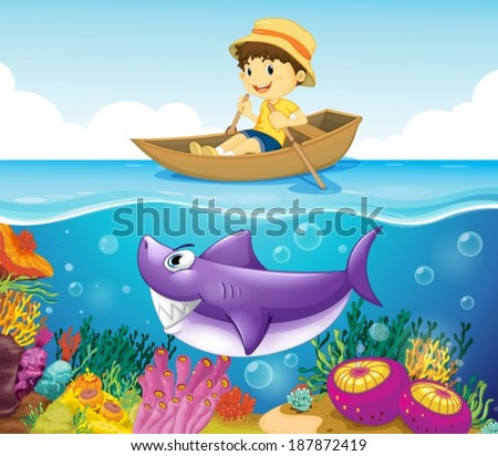 Illustration of a boy in the ocean with a shark - stock vector