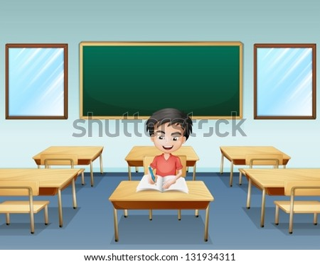 Illustration of a boy inside a classroom with an empty board at the back - stock vector