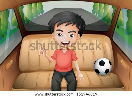 Illustration of a boy inside the car with a soccer ball - stock vector