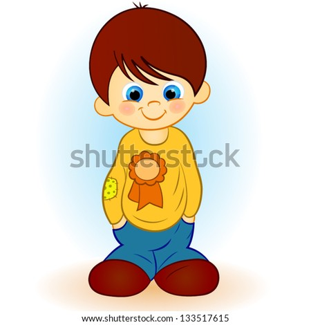 illustration of a boy on a blue background - stock vector