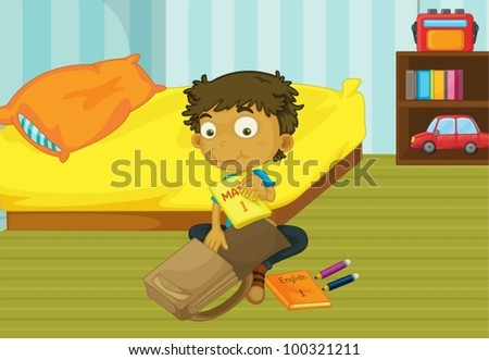 Illustration of a boy packing his schoolbag in his bedroom - stock vector