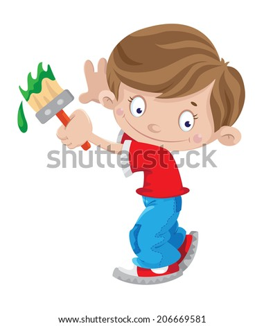 illustration of a boy paints - stock vector