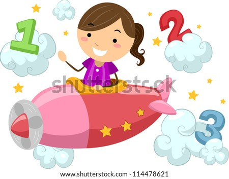 Illustration of a Boy Piloting a Plane Surrounded by the Numbers 1, 2, and 3 - stock vector