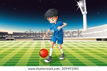 Illustration of a boy playing soccer at the field - stock vector