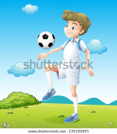 Illustration of a boy playing soccer during daytime - stock vector
