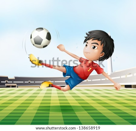 Illustration of a boy playing soccer in the soccer field - stock vector