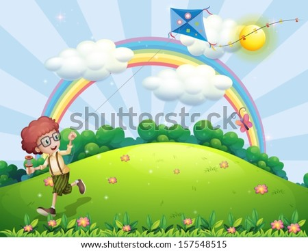 Illustration of a boy playing with his kite at the hilltop with a rainbow - stock vector