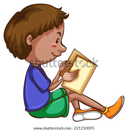 Illustration of a boy reading a book - stock vector