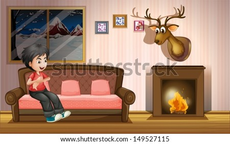 Illustration of a boy sitting at the sofa near the fireplace - stock vector