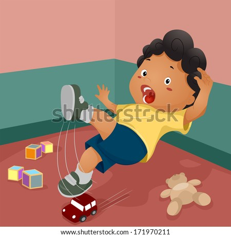 Illustration of a Boy Slipping After Stepping on a Toy - stock vector