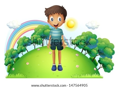 Illustration of a boy standing in the middle of the hill on a white background