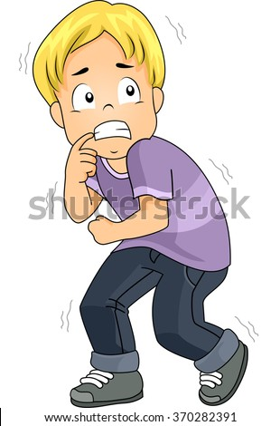 Illustration of a Boy Terrified of a situation - stock vector